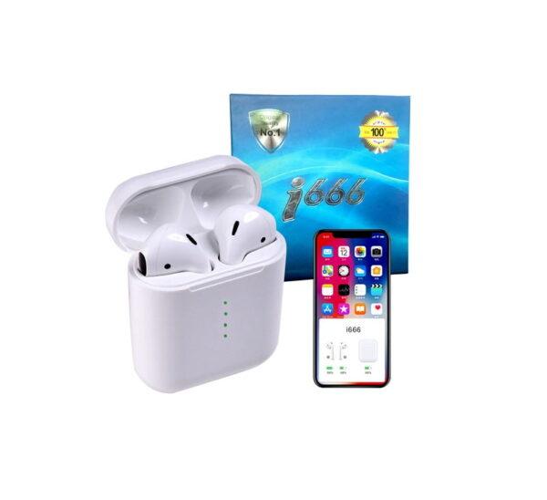 Ασύρματα ακουστικά με βάση φόρτισης – TWS – i666 - White
