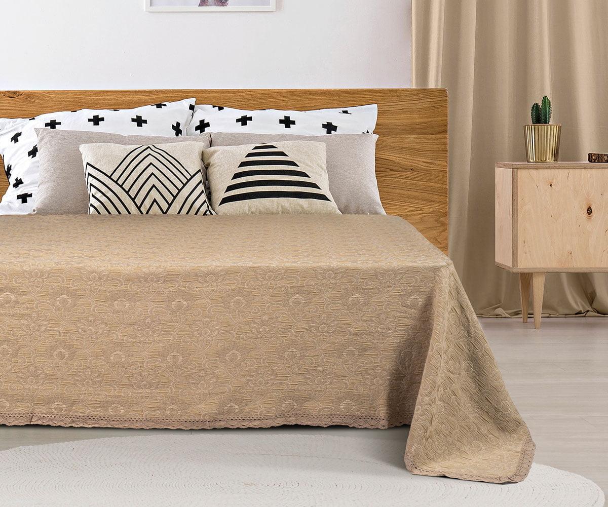 Κουβέρτα ζακάρ Art 1349 με δαντέλα μονή σε 3 χρώματα  170x250 Beauty Home