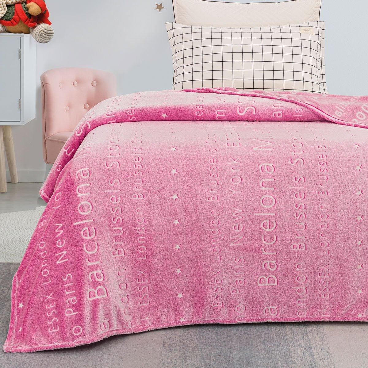Κουβέρτα μονή φωσφορίζουσα Art 6134  160x220 Ροζ Beauty Home