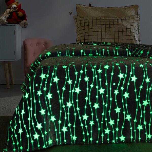 Κουβέρτα μονή φωσφορίζουσα Art 6135  160x220 Γαλάζιο Beauty Home