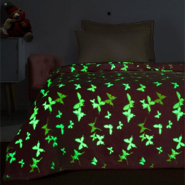 Κουβέρτα μονή φωσφορίζουσα Art 6138  160x220 Ροζ Beauty Home