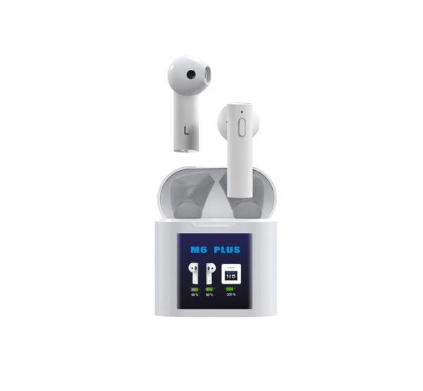 Ασύρματα ακουστικά με βάση φόρτισης και οθόνη - TWS - M6 Plus - White